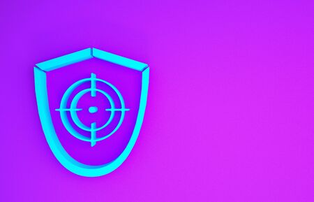 Blue Target sport icon isolated on purple background. Clean target with numbers for shooting range or shooting. Minimalism concept. 3d illustration 3D render