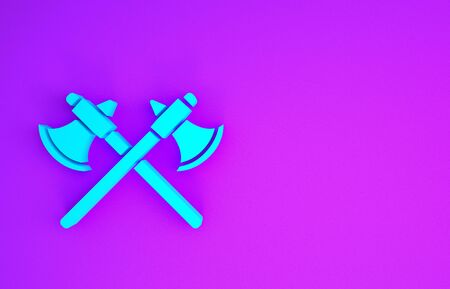 Crossed medieval axes icon isolated on purple background. Battle axe, executioner axe. Minimalism concept. 3d illustration 3D render