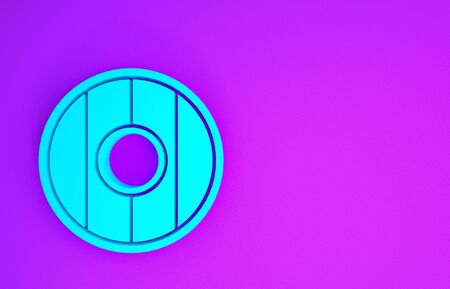 Blue Round wooden shield icon isolated on purple background. Minimalism concept. 3d illustration 3D render