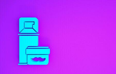 Blue Shaving gel foam icon isolated on purple background. Shaving cream. Minimalism concept. 3d illustration 3D render