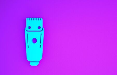 Blue Electrical hair clipper or shaver icon isolated on purple background. Barbershop symbol. Minimalism concept. 3d illustration 3D render