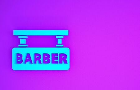Blue Barbershop icon isolated on purple background. Hairdresser  signboard. Minimalism concept. 3d illustration 3D render Banco de Imagens