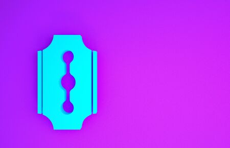 Blue Blade razor icon isolated on purple background. Minimalism concept. 3d illustration 3D render Banco de Imagens