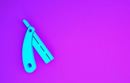 Blue Straight razor icon isolated on purple background. Barbershop symbol. Minimalism concept. 3d illustration 3D render