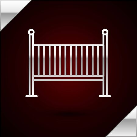 Silver line Baby crib cradle bed icon isolated on dark red background. Vector Illustration