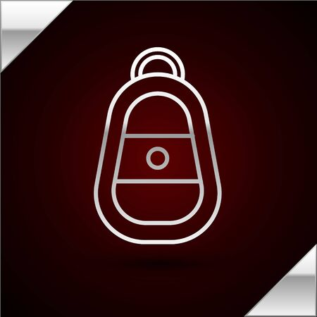 Silver line Car key with remote icon isolated on dark red background. Car key and alarm system. Vector Illustration