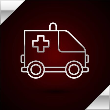 Silver line Ambulance and emergency car icon isolated on dark red background. Ambulance vehicle medical evacuation. Vector Illustration Çizim