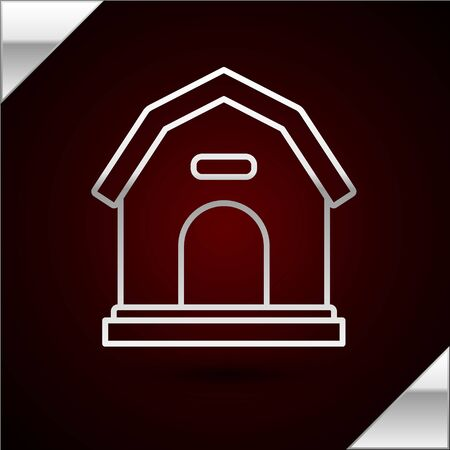 Silver line Dog house icon isolated on dark red background. Dog kennel. Vector Illustration