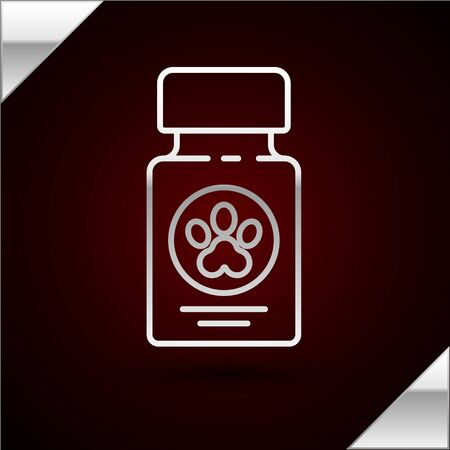 Silver line Dog medicine bottle and pills icon isolated on dark red background. Container with pills. Prescription medicine for animal. Vector Illustration Vettoriali