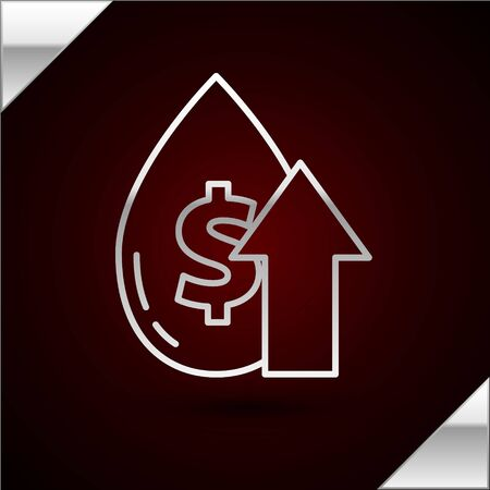 Silver line Oil price increase icon isolated on dark red background. Oil industry crisis concept. Vector Illustration