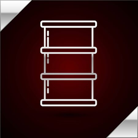 Silver line Barrel oil icon isolated on dark red background. Vector Illustration Ilustracja