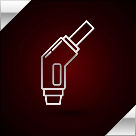 Silver line Gasoline pump nozzle icon isolated on dark red background. Fuel pump petrol station. Refuel service sign. Gas station icon. Vector Illustration