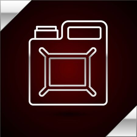 Silver line Canister for gasoline icon isolated on dark red background. Diesel gas icon. Vector Illustration