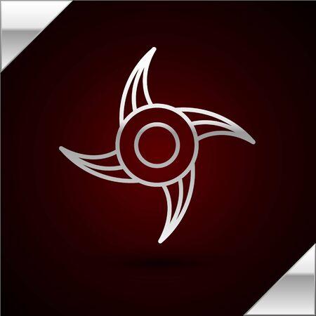 Silver line Japanese ninja shuriken icon isolated on dark red background. Vector Illustration