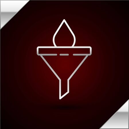 Silver line Funnel or filter and motor oil drop icon isolated on dark red background. Vector Illustration