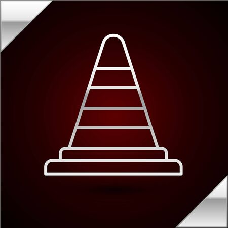 Silver line Traffic cone icon isolated on dark red background. Vector Illustration