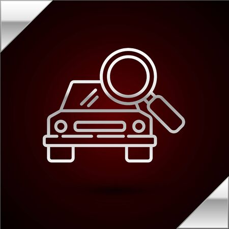 Silver line Car search icon isolated on dark red background. Magnifying glass with car. Vector Illustration Illusztráció