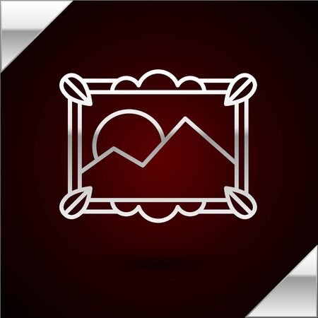 Silver line Picture landscape icon isolated on dark red background. Vector Illustration