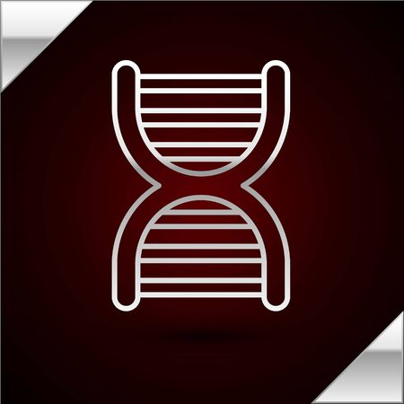 Silver line DNA symbol icon isolated on dark red background. Vector Illustration Ilustrace