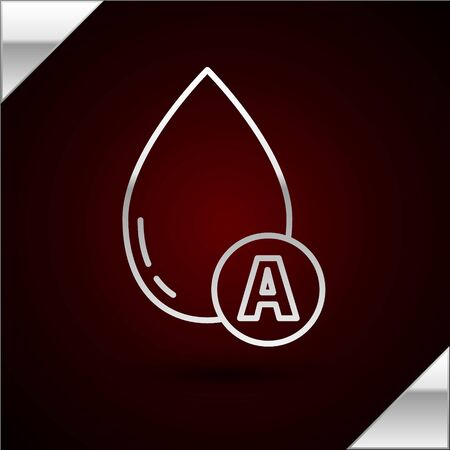 Silver line Water drop icon isolated on dark red background. Vector Illustration
