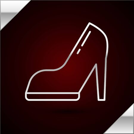 Silver line Woman shoe with high heel icon isolated on dark red background. Vector Illustration