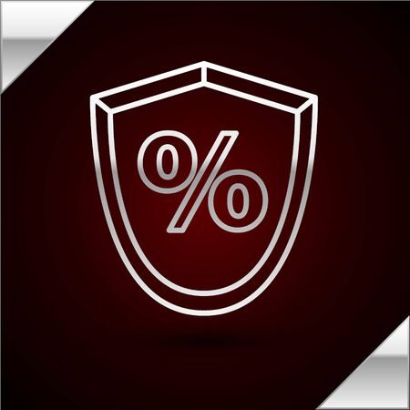 Silver line Loan percent icon isolated on dark red background. Protection shield sign. Credit percentage symbol. Vector Illustration Illustration
