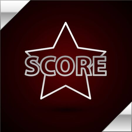 Silver line Star icon isolated on dark red background. Favorite, score, best rating, award symbol. Vector Illustration 向量圖像
