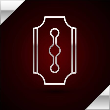 Silver line Blade razor icon isolated on dark red background. Vector Illustration