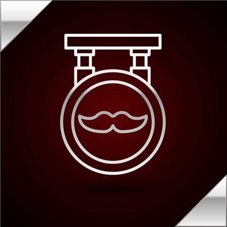 Silver line Barbershop icon isolated on dark red background. Ilustração