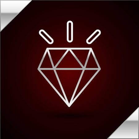 Silver line Diamond teeth icon isolated on dark red background. Vector Illustration Banque d'images - 140857733