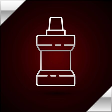 Silver line Mouthwash plastic bottle icon isolated on dark red background. Liquid for rinsing mouth. Oralcare equipment. Vector Illustration
