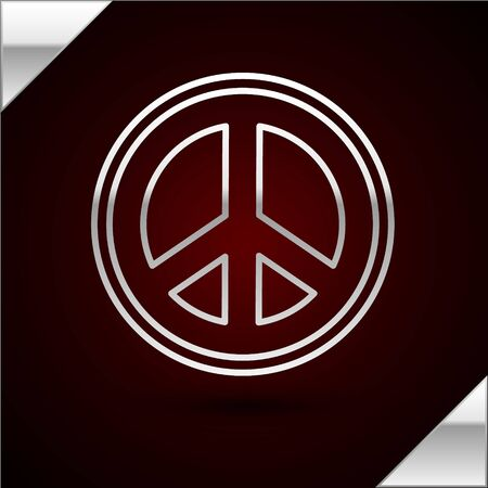 Silver line Peace icon isolated on dark red background. Hippie symbol of peace. Vector Illustration