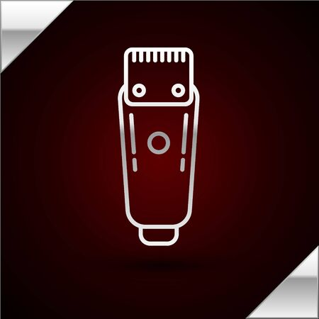 Silver line Electrical hair clipper or shaver icon isolated on dark red background. Barbershop symbol. Vector Illustration