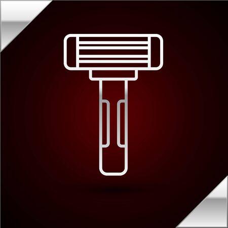 Silver line Shaving razor icon isolated on dark red background. Vector Illustration