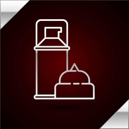 Silver line Shaving gel foam icon isolated on dark red background. Shaving cream. Vector Illustration