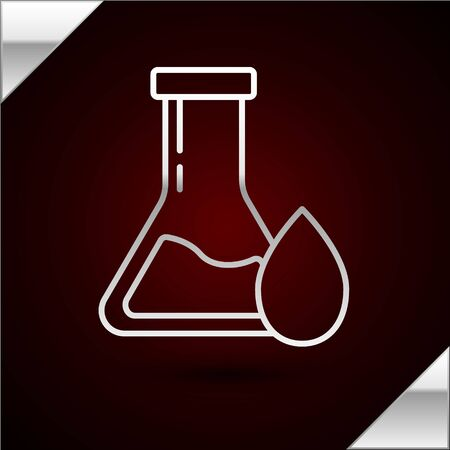 Silver line Oil petrol test tube icon isolated on dark red background. Vector Illustration