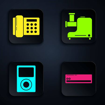Set Air conditioner , Telephone , Music player and Kitchen meat grinder . Black square button. Vector