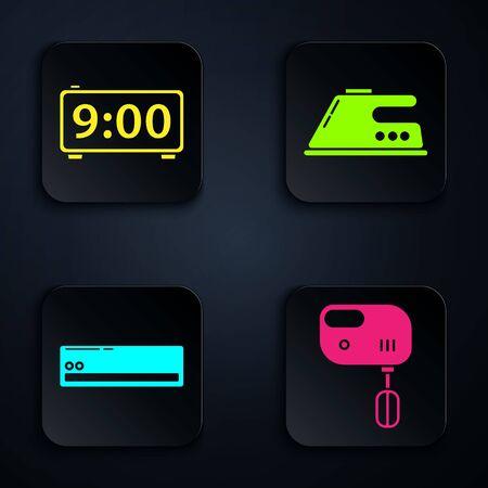 Set Electric mixer , Digital alarm clock , Air conditioner and Electric iron . Black square button. Vector Stock Illustratie