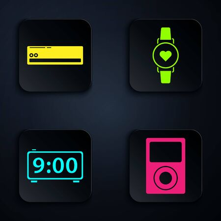 Set Music player , Air conditioner , Digital alarm clock and Smart watch showing heart beat rate . Black square button. Vector