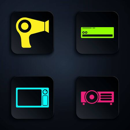 Set Presentation, movie, film, media projector , Hair dryer , Microwave oven and Air conditioner . Black square button. Vector