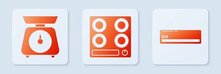 Set Gas stove , Scales and Air conditioner . White square button. Vector