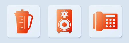 Set Stereo speaker , Measuring cup and Telephone . White square button. Vector
