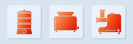 Set Toaster with toasts , Double boiler and Kitchen meat grinder . White square button. Vector