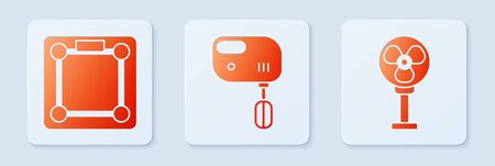 Set Electric mixer , Bathroom scales and Electric fan . White square button. Vector Иллюстрация