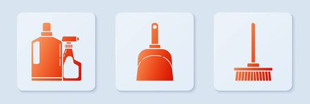 Set Dustpan , Plastic bottles for liquid dishwashing liquid and Mop . White square button. Vector