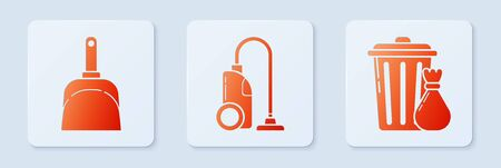 Set Vacuum cleaner , Dustpan and Trash can and garbage bag . White square button. Vector Illustration