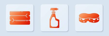 Set Cleaning spray bottle with detergent liquid , Towel stack and Sponge . White square button. Vector Illustration