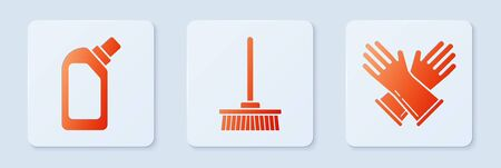 Set Mop , Plastic bottles for liquid dishwashing liquid and Rubber gloves . White square button. Vector