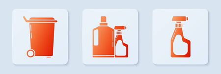 Set Plastic bottles for liquid dishwashing liquid, Trash can and Cleaning spray bottle with detergent liquid . White square button. Vector