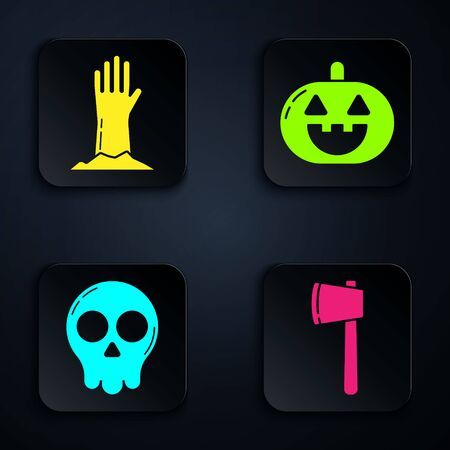 Set Wooden axe , Zombie hand , Skull and Pumpkin . Black square button. Vector